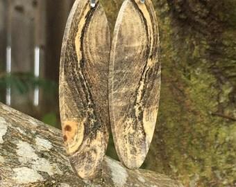 Swirly Awesome Buckeye Burl Reclaimed Wood Light Weight Earrings