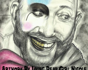"""Portrait Drawing Art Print: """"Well Shit The Bed"""" - Captain Spaulding Sid Haig House Of 1000 Corpses Devil's Rejects Actor"""