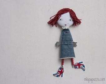 English Girl, Art doll brooch, Personalized gift for her