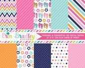 70% OFF SALE Digital Paper Pack Flip Flops & Flowers Polka Dots Chevron Stripes Digital Paper Set Graphics Instant Download