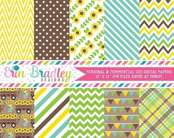 50% OFF SALE Sunflowers Digital Paper Pack Blue Green and Yellow Chevron Stripes Bunting Plaid and Sunflower Patterns