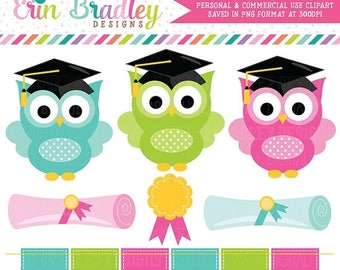 50% OFF SALE Graduation Clipart School Owls Graduation Clip Art Graphics with Diplomas Award and Bunting Personal & Commercial Use