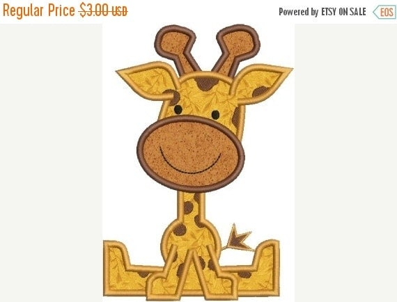 SALE 65% Off Zoo Baby Giraffe Applique Machine Embroidery Designs 4x4 & 5x7 Instant Download Sale