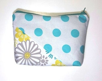 Zipper Pouch, turquoise, teal, gusseted bottom, Makeup Bag, Small Purse Organizer, Make Up Pouch, Travel Makeup Bag, Women Gift