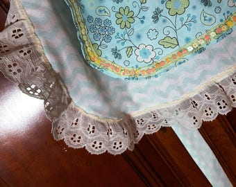 SALE - Frilly Half Apron in Teal, party, hostess apron, bridal shower gift,