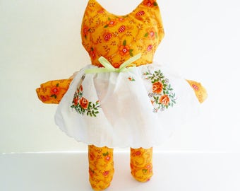 Kitten Doll, Cat Stuffed Doll, Hankie Kitten Doll, Animal Stuffed Doll, Kitten Stuffed Animal,