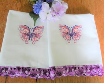 NOS  Purple Butterfly Pillowcases, Purple Pillowcases, Butterfly Pillowcases, Never Used, Cannon Pillowcases, Machine Embroidery, Crochet
