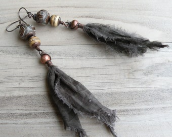 Tibetan Tassel Earrings, Long Earthy Dangles, Army Green, Dzi Earrings, Tribal, Boho, Handmade Jewelry