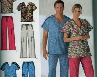 2005 Simplicity Easy to Sew 4378 men's and women's scrub sewing pattern size xs-m