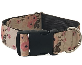 """1.5"""" Pink and Brown Floral Dog Collar Buckle or Martingale"""