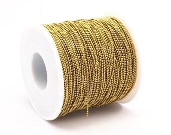 Tiny Ball Chain, 10M - (1.2mm) Raw Brass Ball Chain  ( Z018 )
