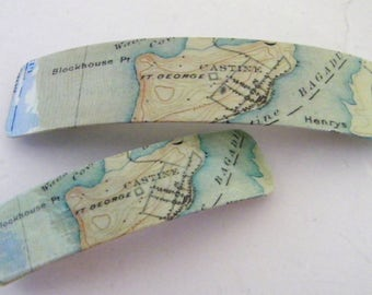 Castine Maine French Barrette - Mother Daughter gift - Mainemade - with Resin Coat - Maine Maritime Academy - Kennebec