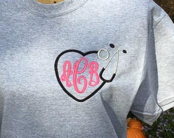 Nurses Monogrammed SHORT sleeve T-shirt.  Stethoscope monogram shirt.  Medical monogram shirt.