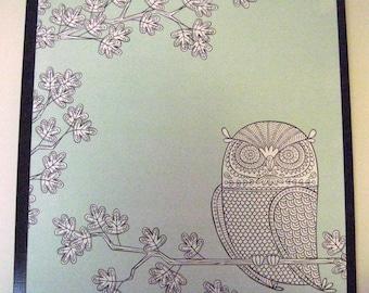 Blue Owl ..Magnet Dry Erase Steel Memo Board / Housewarming Gift / Office Decor / Desk / Organization / Wall Decor / Desk / CoWorker