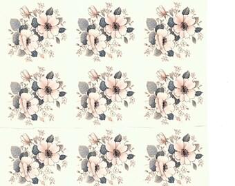 Flower Decal for ceramic, vintage, floral
