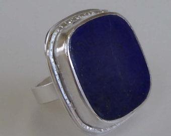 Lapis Lazuli freeform cabochon silver ring size M 61/4 OOAK