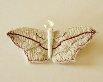 Fiber Art textile brooch blood vein moth entomology jewelry wildlife art woodland accessory