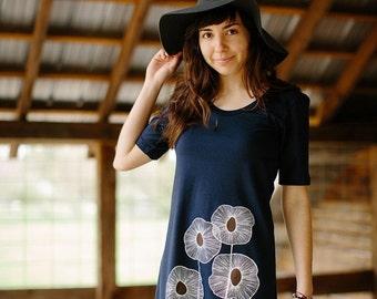 HOLIDAY SALE tshirt dress, navy blue dress, cotton dress, summer dress