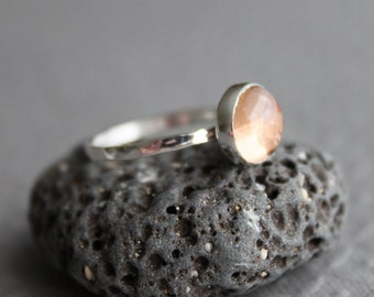 Apricot Tourmaline Sterling Ring - Size 5.5 US/CANADA - Knuckle ring, pinkie ring, birthday anniversary gift