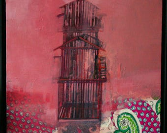 Original Oil Painting on Canvas of Cage on Pink (Titled Morning Song) By BobbieJansen on Etsy