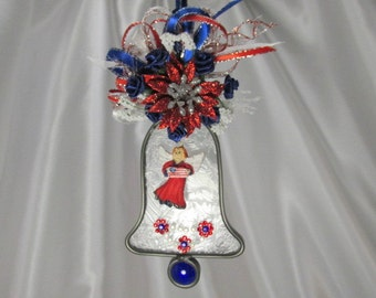 Patriotic Red White and Blue Angel Bell on Frosted Stained Glass Suncatcher or Ornament