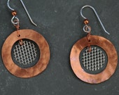 Copper and Wire Mesh Earrings