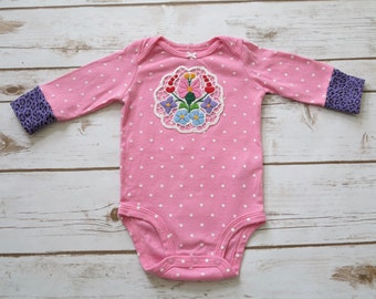6 Months Pink Polka Dot Embroidered Floral Baby Girl Onesie Boho Hippie Upcycled Recycled Boutique OOAK Baby Clothing Clothing