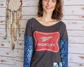 Champagne of Beers Eco Friendly Miller High Life Beer Geometric Sleeve Plaid Pocket Tee Shirt Top Size Small