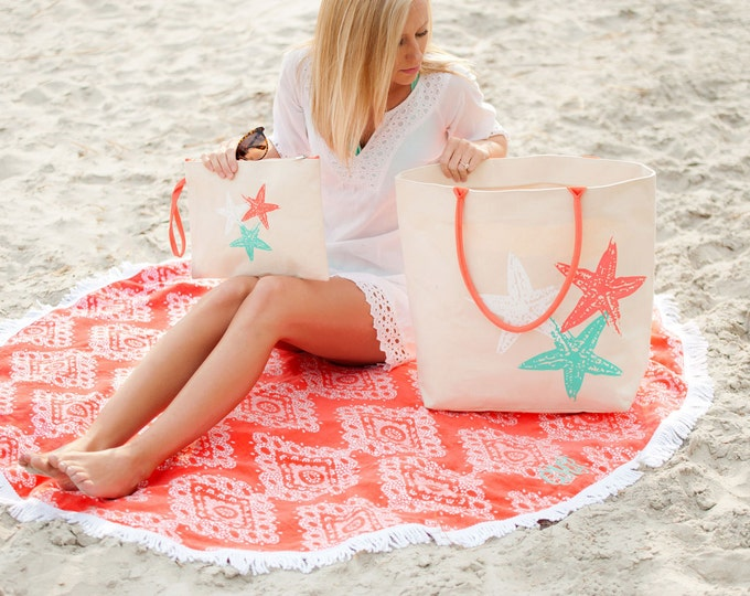 monogrammed starfish tote personalized beach bag spring break coral tote Outer Banks Beach wedding BeachHouseDreamsHome Outer Banks