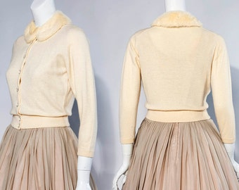 50s Lord & Taylor ivory cashmere sweater – mink collar and glass buttons | size small-medium