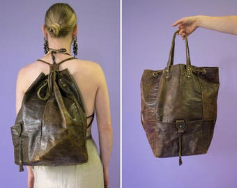 70s Gala Gala Factory big brown distressed leather backpack