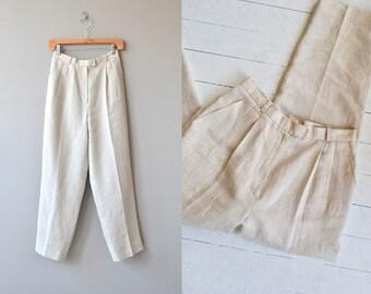 Flax Flour linen trousers   vintage 1980s linen pants   high waisted pants