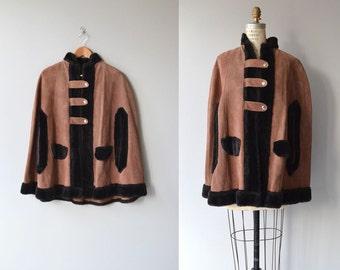 Tanna suede cape | vintage 1960s cape | suede and faux fur 60s poncho