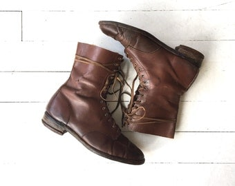 Land Girl boots | vintage 1940s leather ankle boots | brown leather 40s boots 8