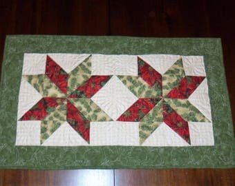 Quilted Table Runner, Holiday Christmas, Faric Centerpiece, 17x29 Inches, Dining Table Decor, Machine Quilted, Evening Star Quilt