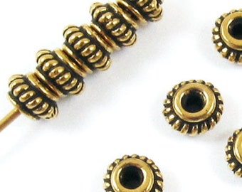 TierraCast Beads-Gold COILED BALI SPACER 5mm (12)