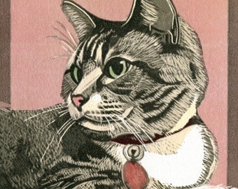 Bitsy, tabby cat with attitude linocut