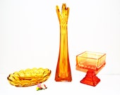 Vintage 1970's Trio Amber & Fire Glass