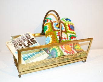 Vintage Magazine Rack Glass / Metal