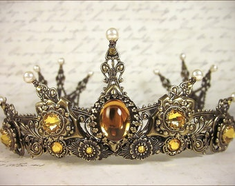 Topaz Bridal Tiara, Renaissance Tiara, Medieval Wedding, Ren Faire, Gold Bridal Headpiece, Crown, Handfasting, SCA Garb, Avalon Tiara