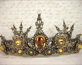 Topaz Bridal Tiara, Renaissance Tiara, Medieval Wedding, Ren Faire, Gold Bridal Headpiece, Crown, Handfasting, SCA Garb, Avalon Tiara