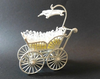 Vintage Miniature Carriage, Painted Metal Baby Doll Pram 1966 Yellow and Lace bedding, with lace umbrella