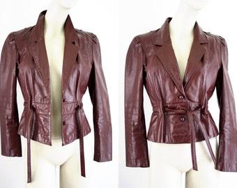 Vintage Berman's Maroon Leather Front Tie Woman's Retro Jacket