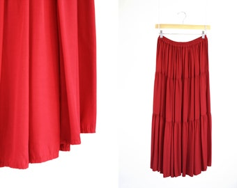 Cactus Flower Red Vintage Woman's Rayon Flow-y Western Style Elastic Waist Retro Layered Maxi Skirt