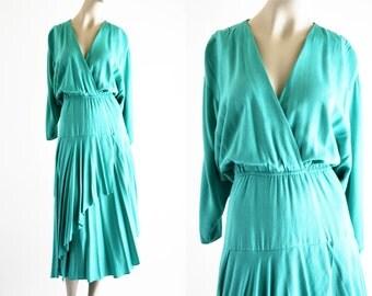 Vintage Teal Phoebe Brand 80's Bat Wing Low Faux Wrap Top Elastic Waist Layered Midi Length Woman's Retro Dress
