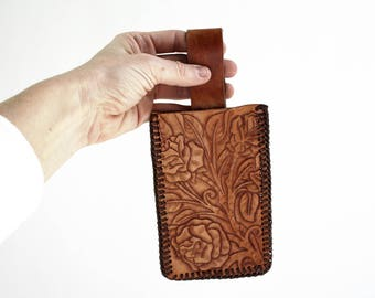 Handmade Vintage Hand Tooled Brown Leather Floral Print Belt Accessory Attachment for Storage such as Tools, Cell Phone, Keys, Etc.