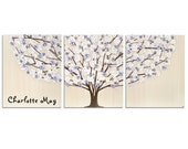 Personalized Nursery Wall Art for Baby Girl - Lavender Tree Painting Canvas Triptych - Large 50x20