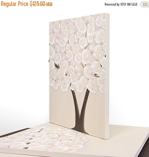 ON SALE Baby Girl Nursery Canvas Art - Tree Painting Triptych Pink and Brown - Medium 35x14