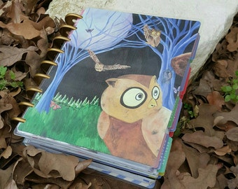 Owl Planner Cover - Disc Bound Planner Cover - Discbound Planner - Arc Planner Cover - Laminated Planner Cover - Owl Art