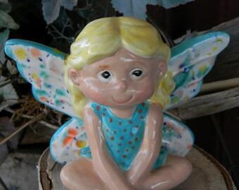 Fairy Girl - handmade ceramic garden fairie fae  for your miniature gardens - safe outside Sitting Glazed